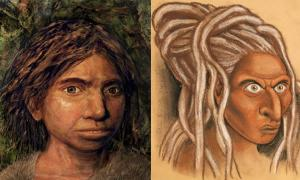 The reconstructed face of a Siberian Denisovan (right) alongside the Hebrew University's own representation of a Sunda Denisovan (left).            Source: Left © Hernandez/Cartwright/Collins; b) © Maayan-Harel)