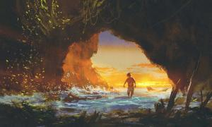 Man walking in a sea cave at sunset, illustration painting. New research on the Denisovans provides more insight on their lives and population spread.
