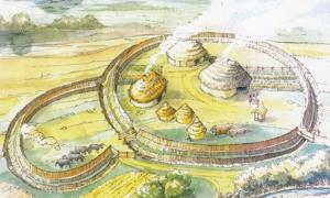 Reconstruction of a ringfort at Curraheen, Co Cork, Ireland - the kind of enclosure that would have been built first at the ringfort in Ranelagh, Co Roscommon.