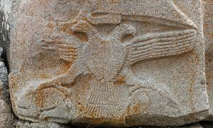 Relief representing a two-headed eagle on the sphinx located at the right of the Sphinx Gate, Alaca Höyük, Turkey.