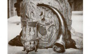 The Dunvegan Cup, Fairy Flag, and Sir Rory Mor's Horn are heirlooms of the MacLeods of Dunvegan. This photo was taken sometime before 1927.