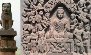 Asokan pillar at Vaishali, Bihar, India.