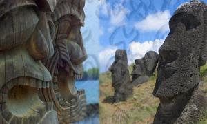 Deriv; Hawaiian Tiki carvings and Easter Island statues with Rongorongo script