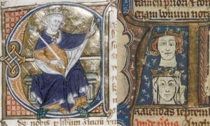 On Left – Early fourteenth-century manuscript showing Edward I. On Right – Early fourteenth-century manuscript showing Edward I and his wife Eleanor