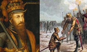 On Left – Portrait of Edward III of England. On Right – Edward III of England proudly receives his son, Edward the Black Prince, for the successful conduct of the Battle of Crécy.