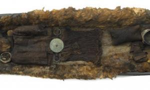 The coffin and remains of the Egtved Girl. Researchers have discovered the high-status teen was born and raised afar from her burial site in Denmark.
