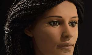 The reconstructed face of the young Egyptian woman.