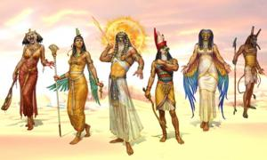 Egyptian gods and goddess. From left to right, Sekhmet, Isis, Ra, Horus, Wadjet, and Set. Source: Hotaru Ito / Public Domain.