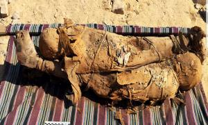 Two of the mummies discovered in the Egyptian tomb in Aswan.