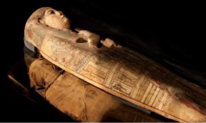 The sarcophagus of the ancient Egyptian woman Ta-Kr-Hb, where the artwork of the goddess was found.       Source: Perth Museum and Art Gallery / Culture Perth and Kinross