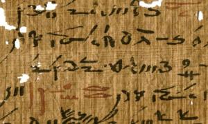 Egyptian writing sample from a medical treatise (inv. P. Carlsberg 930) belonging to the Tebtunis temple library with headings marked in red ink.