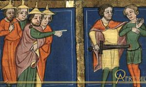 Miniature depicting Ehud murdering King Eglon by Rudolf von Ems (1350 to 1375)