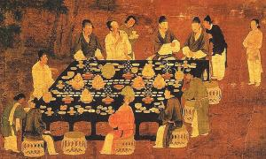 An Elegant Party (detail), painting of a small Chinese banquet hosted by the emperor for scholar-officials from the Song Dynasty (960-1279).