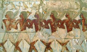 Members of Hatshepsut's trading expedition to the mysterious 'Land of Punt' from this pharaoh's elegant mortuary temple at Deir El-Bahri.