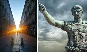 Left:  A team of scientists have found an alignment that occurs between the rising Sun and a major street in Turin that was constructed around 28 BC. (Guido Cossard) Right: Statue of Emperor Octavian in Rome. (fabiomax / Adobe stock)