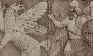 Sumerian chaos monster and sun god