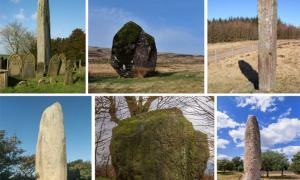 European standing stones: Rudston Monolith (CC0), Maen Llia (Tony Martin Long /Adobe Stock), Maen Madoc (Alan Bowring/CC BY SA 2.0), Kerloas Menhir (mariof /Adobe Stock), Riesenstein (Tecty/CC BY SA 4.0), Menir da Meada. (StockPhotosArt /Adobe Stock)