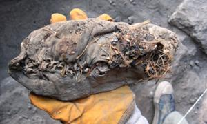 5500-year-old shoe in hand of researcher