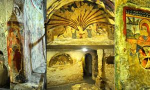Frescos in the crypt of St. Agatha, including the outstanding inner chapel altar and fresco (center).