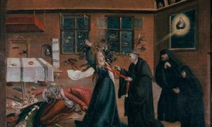Medieval exorcism of a woman.