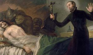 Painting of Father General Saint Francis Borgia, SJ, performing an exorcism, by Goya.