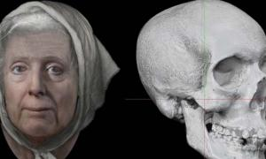 Left: Lilias reconstructed face as she may have looked when alive. (Dundee University) Right: 3D imagery created from the photo of Adie's skull. (National Library of Scotland)