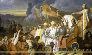 Charlemagne receiving the submission of Widukind at Paderborn in 785, by Ary Scheffer (1840) (Public Domain)