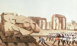 An artist's representation of Giovanni Battista Belzoni's expedition. Belzoni is one of many researchers who entered the tomb KV20.