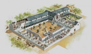 A reconstruction of what the Vine Street courtyard house might have looked like in the late 3rd century AD. It was discovered during excavations for the John Lewis car park in 2006.
