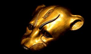 Gilded leopard head found in the Tomb of Tutankhamun (KV62); design by Anand Balaji