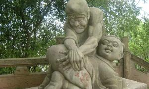 Naughty ghost statue, in the ghost city Fengdu