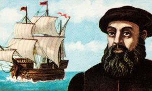Portrait of Ferdinand Magellan and his ship Trinidad on postage stamp