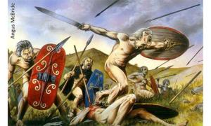 "Celtic warriors in ""The Battle of Telamon, 225 BC."