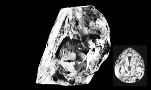Main: The rough Cullinan Diamond (public domain). Inset: One of the nine stones it was cut into (public domain)