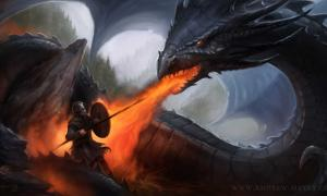Beowulf against the dragon.