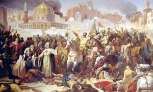"""""""Taking of Jerusalem by the Crusaders, 15th July 1099"""" (1847) by Émile Signol / Giraudon / The Bridgeman Art Library. The Crusaders were mostly successful in the First Crusade."""