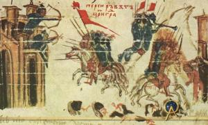 The Siege of Constantinople. Emperor Heraclius attacks a Persian fortress, while the Persians attack Constantinople from the Constantine Manasses Chronicle, 14th century.