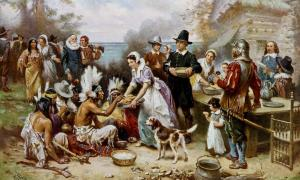 ": ""The First Thanksgiving 1621, oil on canvas by Jean Leon Gerome Ferris (1899). The painting shows common misconceptions about the event that persist to modern times: Pilgrims did not wear such outfits, and the Wampanoag are dressed in the style of Native Americans from the Great"