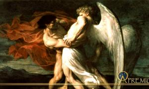 From the Biblical tale, Jacob wrestles with an Angel