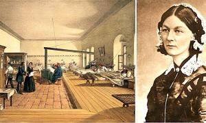 Left: Florence Nightingale inspects a hospital ward during the Crimean War. ( Wellcome Images / CC BY 4.0).   Right: Portrait of Florence Nightingale from Carte de Visite. (H. Lenthall / Public domain)