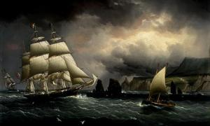 "Painting of the ""Flying Cloud"" off the Isle of Wight, England."