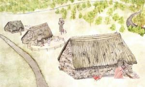 Artist's impression of the lost village of Cadzow.
