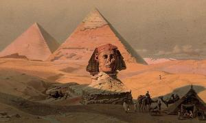 Egypt: The pyramids at Giza and the Sphinx. Colour lithograph by G.W. Seitz, ca. 1878