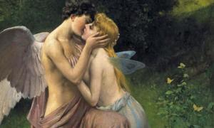 "Friedrich Paul Thumann, (1834-1908), ""Cupid (Eros) and Psyche."""