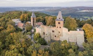 Aerial view of Frankenstein Castle in southern Hesse, Germany          Source: Iurii / Adobe Stock