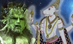 Green Man (ElliotBrown/CC BY 2.0) and Bull Nandi (Public Domain)/Deriv.