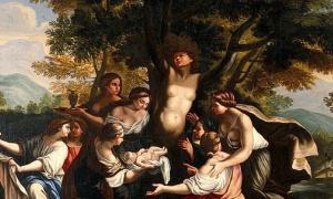 Detail of 'The birth of Adonis and the transformation of Myrrha.' By Luigi Garzi.
