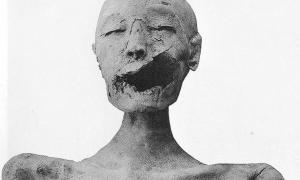 """Front view of the mummy of the """"Younger Lady""""."""