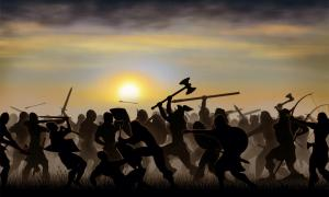 Representation of Norse-Gael (Gallowglass) warriors in battle.          Source: PatSM / Adobe stock