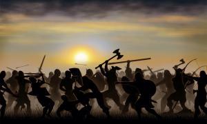 Representation of Norse-Gael (Gallowglass) warriors in battle.          Source: PatSM / Adobe stock